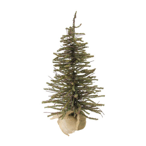2' Green and Brown Warsaw Twig Artificial Christmas Tree with Burlap Base - Unlit - IMAGE 1