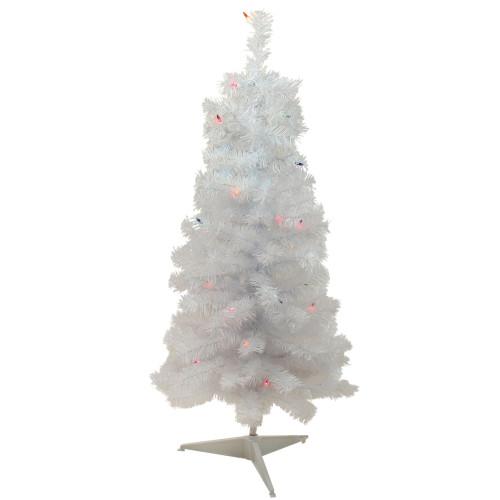 3' Pre-lit White Iridescent Pine Artificial Christmas Tree - Multi Lights - IMAGE 1