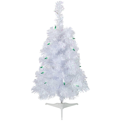 2' Pre-Lit Slim White Artificial Christmas Tree - Green Lights - IMAGE 1