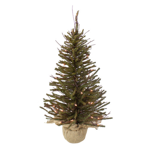 2.5' Pre-Lit Warsaw Two-Tone Twig Artificial Christmas Tree - Clear Lights - IMAGE 1