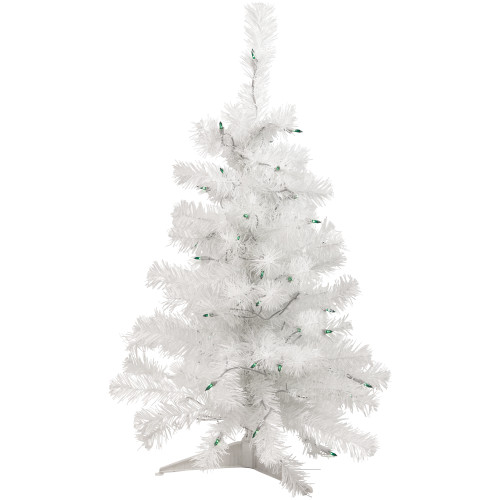 3' Pre-Lit Slim White Artificial Christmas Tree - Green Lights - IMAGE 1