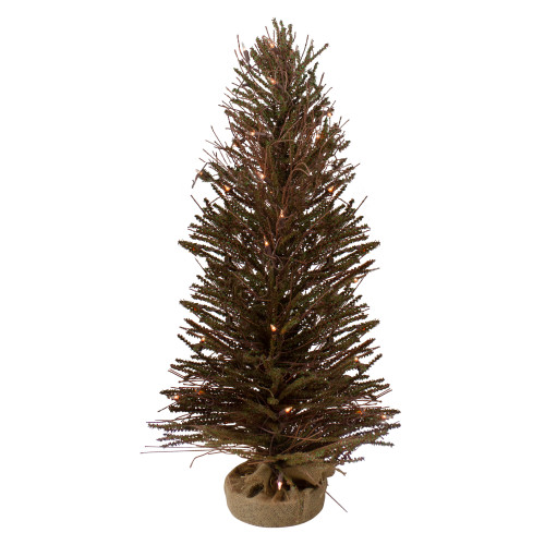 3' Pre-Lit Warsaw Twig Artificial Christmas Tree - Clear Lights - IMAGE 1