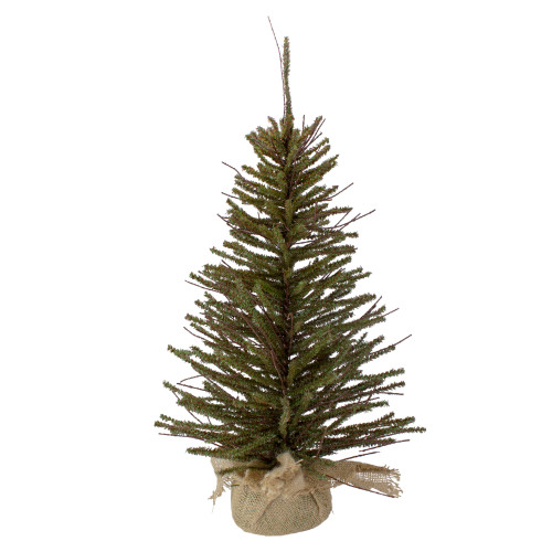 2.5' Green and Brown Warsaw Twig Artificial Christmas Tree with Burlap Base - Unlit - IMAGE 1