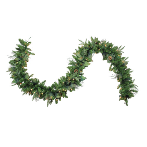 "9' x 12"" Pre-Lit Mixed Winter Pine Artificial Christmas Garland - Clear Dura-Lit Lights - IMAGE 1"