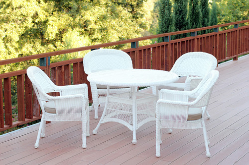 Fine 7Pc White Resin Wicker Patio Dining Set 6 Chairs 1 Pabps2019 Chair Design Images Pabps2019Com
