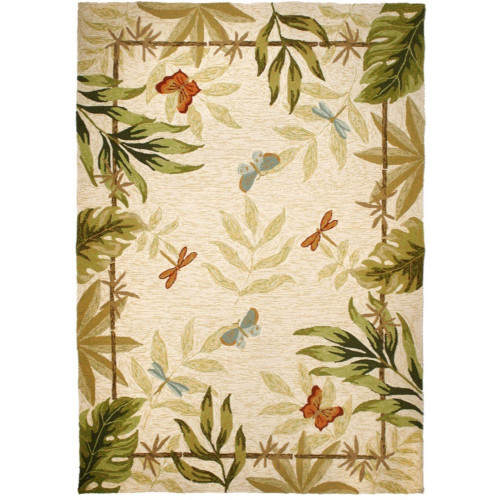 26 x 60 Spring Meadow Butterflies and Dragonflies Hand Hooked Area Throw Rugs - IMAGE 1