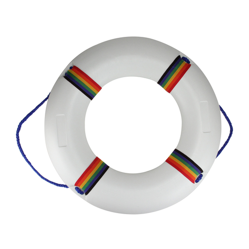 """21"""" White and Blue Swimming Pool Safety Ring Buoy - IMAGE 1"""