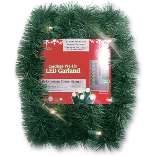 "18' x 2.5"" Battery Operated Green Artificial Christmas Garland - Warm White LED - IMAGE 1"