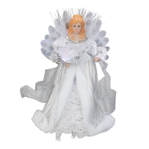 "12"" Silver and White LED Lighted Fiber Optic Angel Christmas Tree Topper - IMAGE 1"