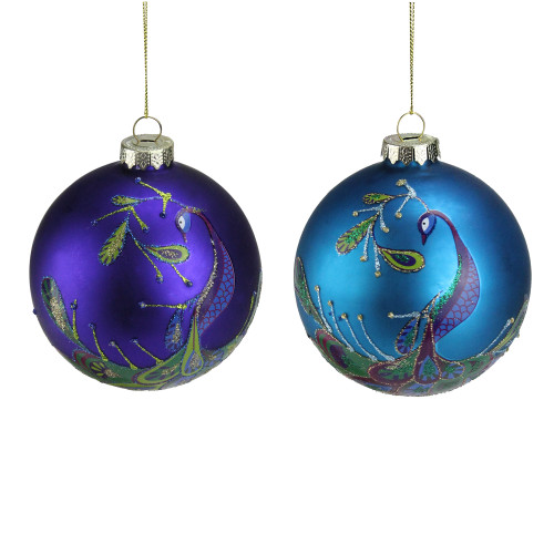 """Set of 2 Regal Peacock Purple and Blue Glass Ball Christmas Ornament 4"""" - IMAGE 1"""