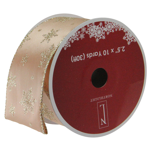"Gold Sparkling Stars Christmas Wired Craft Ribbon 2.5"" x 10 Yards - IMAGE 1"