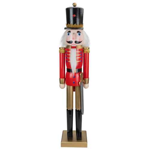 """36"""" Red and Gold Christmas Soldier Nutcracker with Sword - IMAGE 1"""