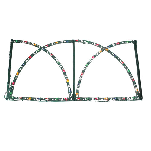 7' Green Pathway Fence with Multicolored Christmas Lights Outdoor Decoration - IMAGE 1