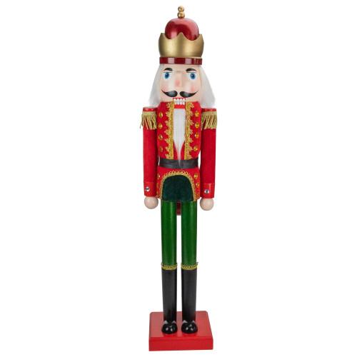 """35.5"""" Red and Green Velvet Wooden Christmas Nutcracker King - IMAGE 1"""