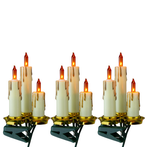 15-Count Amber and Gold Dripping Candle Clip-On Christmas Light Set, 3.75ft Green Wire - IMAGE 1