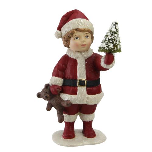 "5"" Santa""s Little Helper Child with Mini Tree Christmas Figurine Decoration - IMAGE 1"