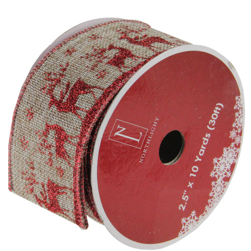 "Red and Beige Reindeer Burlap Wired Christmas Craft Ribbon 2.5"" x 10 Yards - IMAGE 1"
