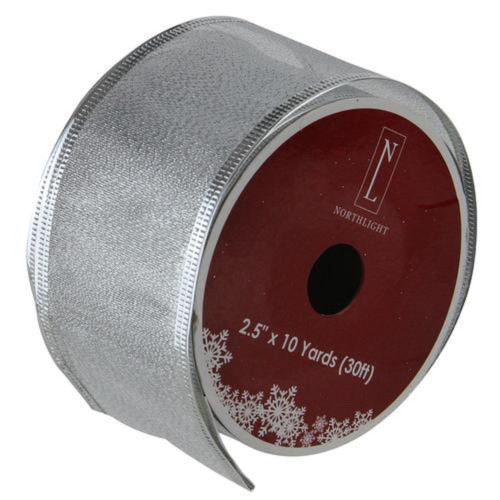 "Textured Silver Christmas Wired Craft Ribbon 2.5"" x 10 Yards - IMAGE 1"