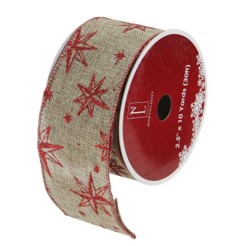 "Red and Beige Star Wired Christmas Craft Ribbon 2.5"" x 10 Yards - IMAGE 1"