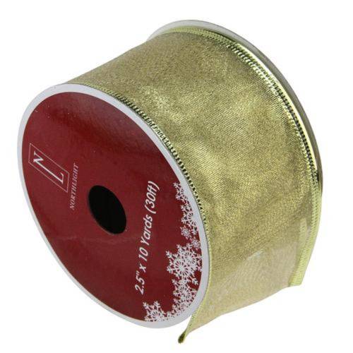 "Textured Gold Wired Christmas Craft Ribbon 2.5"" x 10 Yards - IMAGE 1"