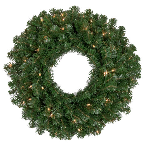 Pre-Lit Windsor Pine Artificial Christmas Wreath - 24-Inch, Clear Lights - IMAGE 1