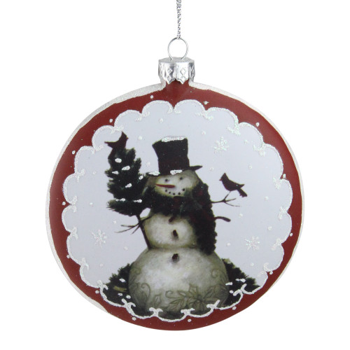 """5"""" White and Burgundy Snowman with Cardinals Glittered Christmas Tree Ornament - IMAGE 1"""