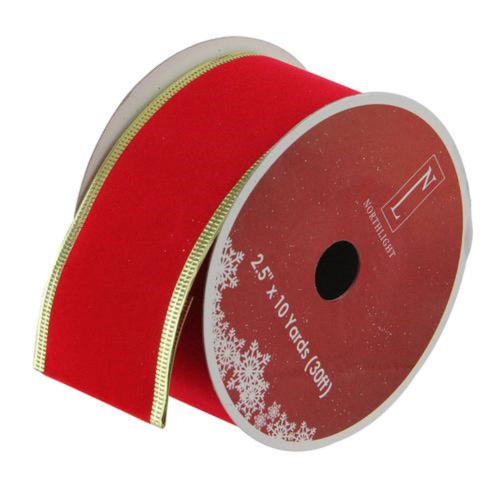 Solid Bright Red Gold Wired Christmas Craft Ribbon 2.5 x 10 Yards - IMAGE 1