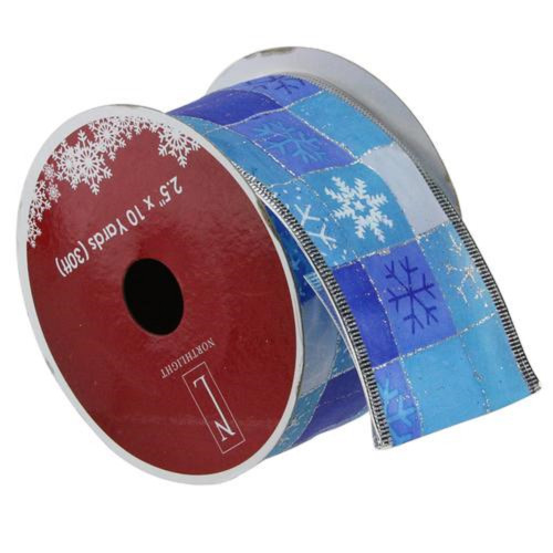 "Squares of Blue Snowflake Wired Christmas Craft Ribbon 2.5"" x 10 Yards - IMAGE 1"