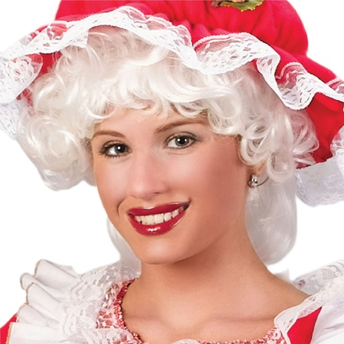 """8"""" Mrs. Santa Claus Curly Christmas Wig Women Costume Accessory - One Size - IMAGE 1"""