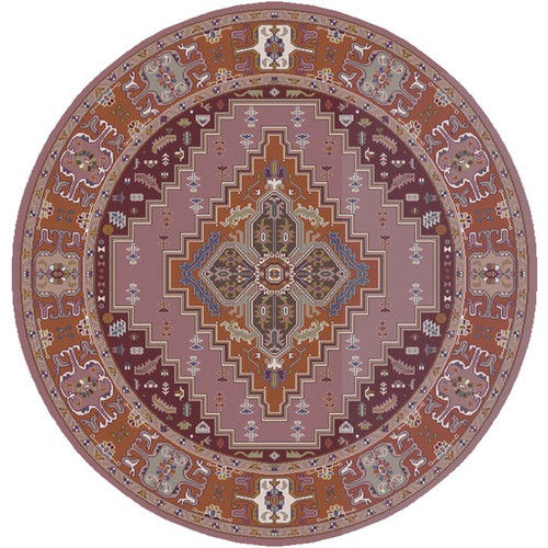 8' Pink and Orange Round Hand Knotted Wool Area Throw Rug - IMAGE 1