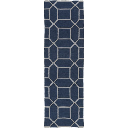 2.5' x 8' Innocuous Octagons Navy Blue and White Hand Woven Outdoor Area Throw Rug Runner - IMAGE 1