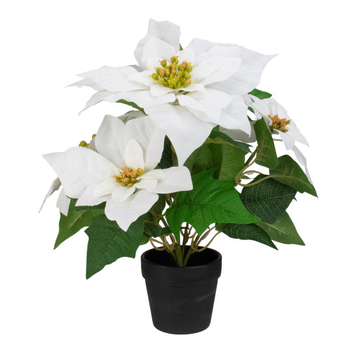 """14.5"""" White and Brown Artificial Christmas Poinsettia Flower Plant with Pot - IMAGE 1"""