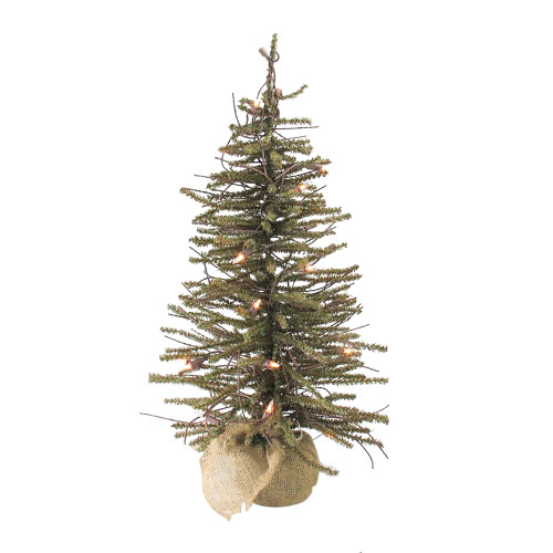 4' Pre-lit Potted Twig Slim Artificial Christmas Tree - Warm Clear Lights - IMAGE 1