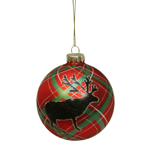 """Red and Green Plaid Reindeer Silhouette Glass Christmas Ball Ornament 4"""" (100mm) - IMAGE 1"""