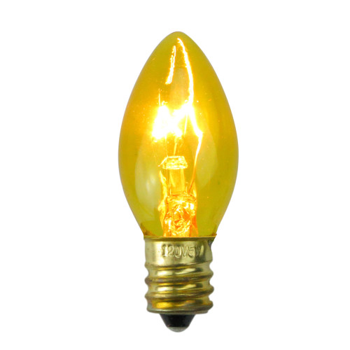 Pack of 25 Transparent Yellow C7 Christmas Replacement Bulbs - IMAGE 1
