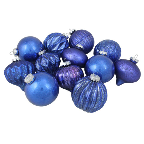 """12ct Royal Blue Multi Finish with Various Shaped Christmas Ornaments 3.75"""" - IMAGE 1"""
