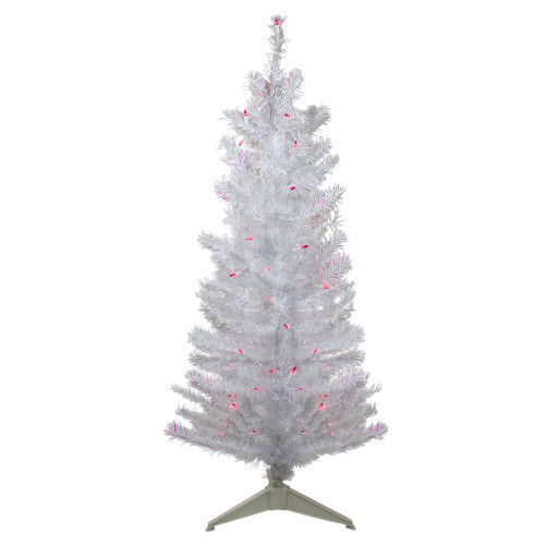 4' Pre-lit White Iridescent Pine Artificial Christmas Tree - Pink Lights - IMAGE 1