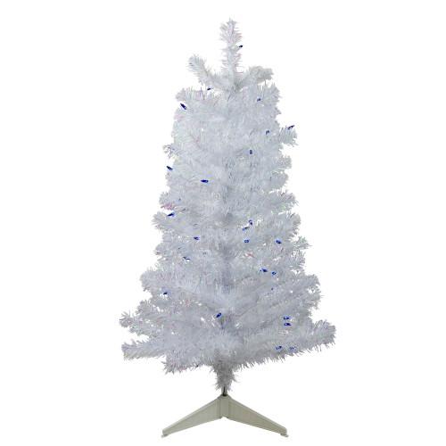3' Pre-Lit White Medium Pine Artificial Christmas Tree - Blue Lights - IMAGE 1