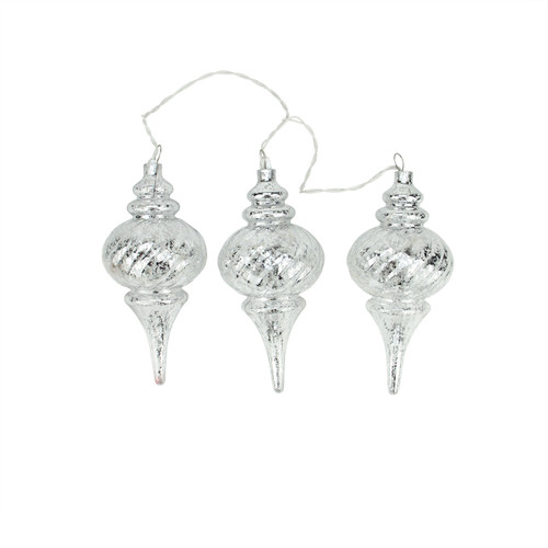 """3ct Silver Lighted Glass Shatterproof Christmas Finial Ornaments 9.75"""" - Clear Lights - IMAGE 1"""