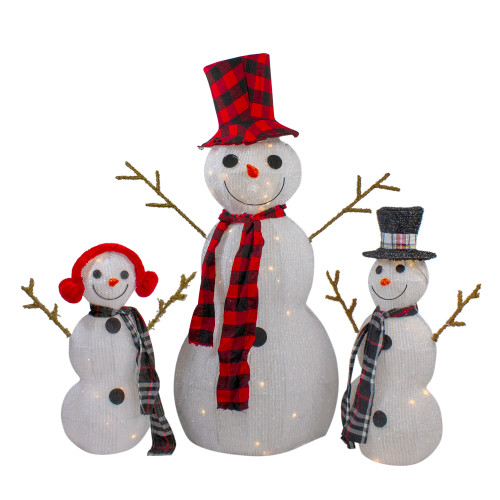 """Set of 3 Lighted Tinsel Snowman Family Christmas Outdoor Decorations, 35"""" - IMAGE 1"""