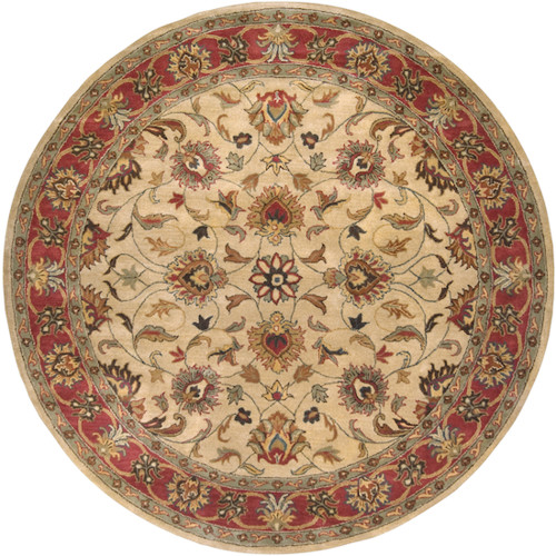 8' Brown and Beige Traditional Hand Tufted Round Area Throw Rug - IMAGE 1