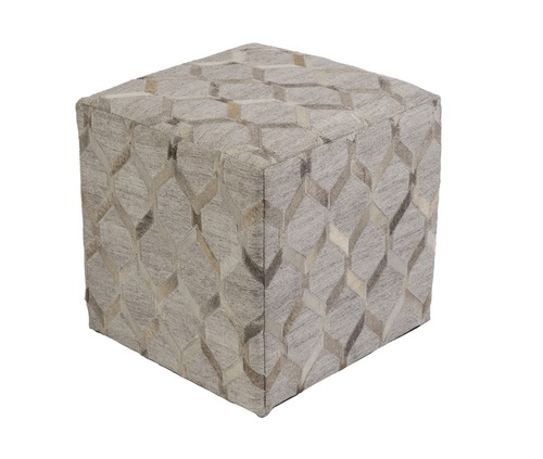 "18""Champagne Beige and Koala Gray Geometric Contemporary Foot Stool Ottoman - IMAGE 1"