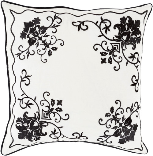 """22"""" White and Black Floral Decorative Square Throw Pillow - Down Filler - IMAGE 1"""