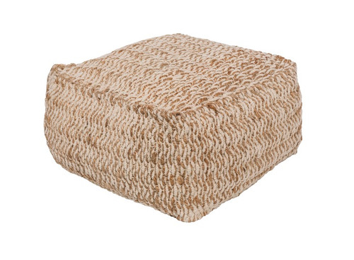 """20""""Pearl River Gray and Wheat Brown Traditional Woven Foot Stool Ottoman - IMAGE 1"""