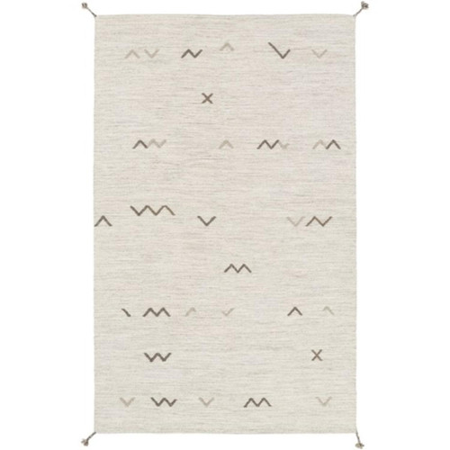 6' x 9' Smoky Gray and White Rectangular Area Throw Rug - IMAGE 1