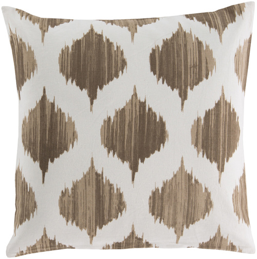 "22"" Brown and White Contemporary Geometric Square Throw Pillow - Down Filler - IMAGE 1"