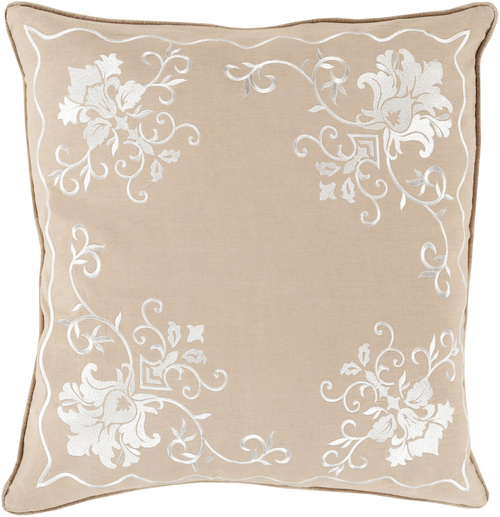 "18"" Brown and White Floral Square Throw Pillow - Down Filler - IMAGE 1"