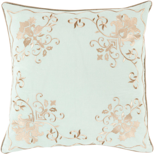 "22"" White and Brown Floral Design Throw Pillow - IMAGE 1"