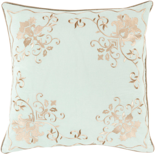 "18"" Seafoam Blue and Brown Floral Decorative Square Throw Pillow - Down Filler - IMAGE 1"