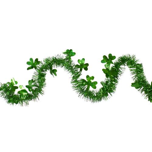 "25' x 2"" Green Tinsel Irish Shamrock Artificial St. Patrick's Day Garland - Unlit - IMAGE 1"